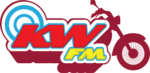 KWFM logo with motorcycle in background